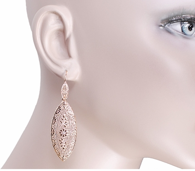 Art Deco Dangling Leaf Sterling Silver Filigree Diamond Earrings with Rose Gold Vermeil - Item E171RD - Image 2