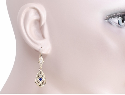 Art Deco Dangling Sterling Silver Blue Sapphire and Diamond Filigree Earrings with Yellow Gold Vermeil - Item E178YS - Image 2