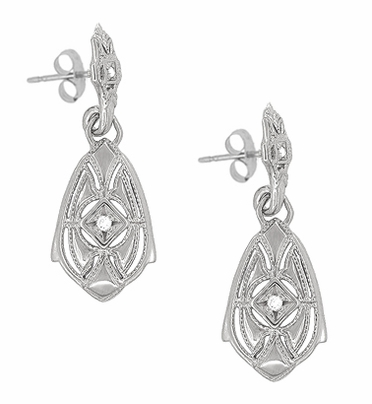Art Deco Dangling Sterling Silver Diamond Filigree Earrings - Item E178WD - Image 1