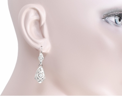 Art Deco Dangling Sterling Silver Diamond Filigree Earrings - Item E178WD - Image 2