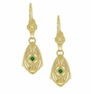 Art Deco Dangling Sterling Silver Emerald and Diamond Filigree Earrings with Yellow Gold Vermeil