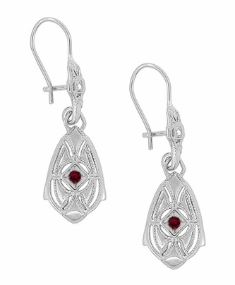 Art Deco Dangling Sterling Silver Ruby and Diamond Filigree Earrings - Item E178WR - Image 1