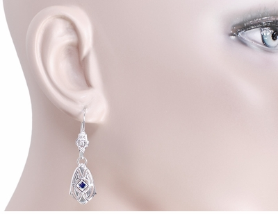 Art Deco Dangling Sterling Silver Sapphire and Diamond Filigree Earrings - Item E178WS - Image 2