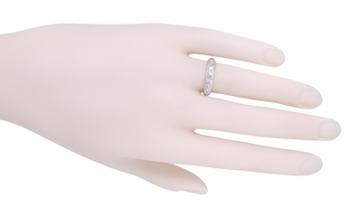 Art Deco Deerfield Antique Diamond Wedding Band in Platinum - Size 6 1/2 - Item R1087 - Image 1