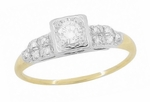 Art Deco Diamond Antique Engagement Ring in 14 Karat White and Yellow Gold | 1930s Heirloom Ethical Diamond Engagement Ring
