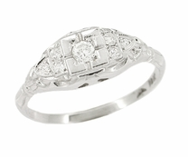 Art Deco Diamond Antique Engagement Ring in 18 Karat White Gold