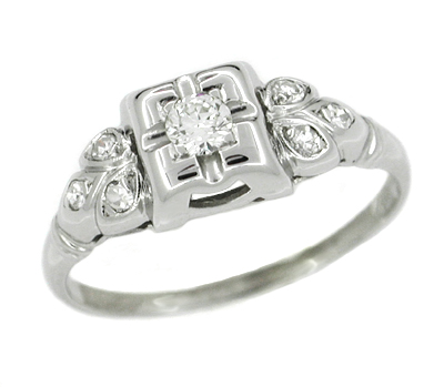 Art Deco Antique Leaves Filigree Diamond Illusion Engagement Ring in 14K White Gold