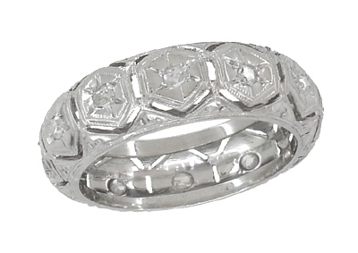 Art Deco Diamond Antique Wedding Band in Platinum - Size 4 1/2