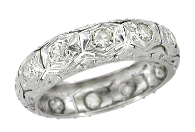 Art Deco Diamond Antique Wedding Band in Platinum - Size 4