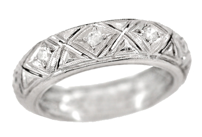 Art Deco Milton Diamond Antique Wedding Band in Platinum - Size 5