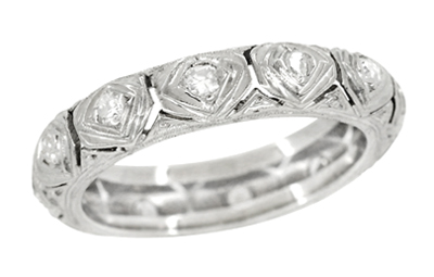 Art Deco Diamond Antique Wedding Band in Platinum - Size 5 1/4