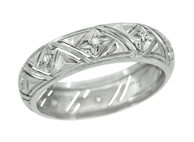 Art Deco Marbledale Antique Diamond Wedding Ring in Platinum - Size 5