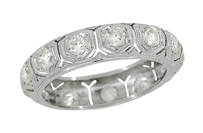 Southford Art Deco Antique Platinum and Diamond Filigree Wedding Band - Size 5
