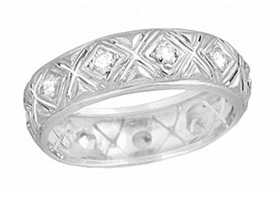 Art Deco Platinum Antique Yalesville Diamond Wedding Band - Size 5
