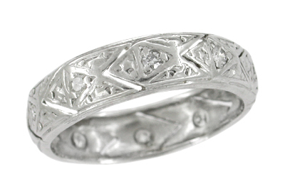 Vintage Art Deco Bolton Diamond Wedding Band in Platinum - Size 6 1/2