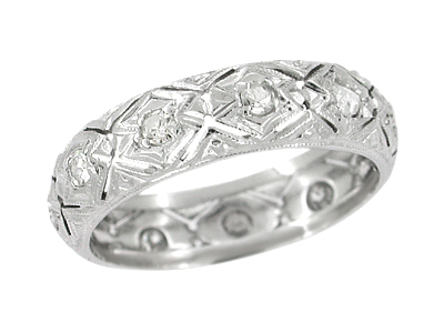 Montville Antique Art Deco Diamond Wedding Band in Platinum - Size 6 1/4