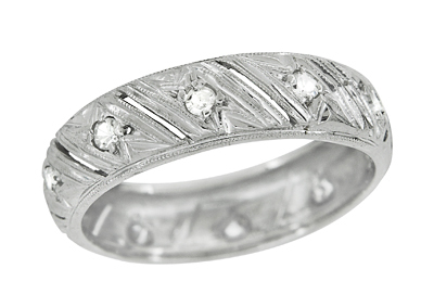 Art Deco Warran Antique Filigree Diamond Wedding Band in Platinum - Size 6