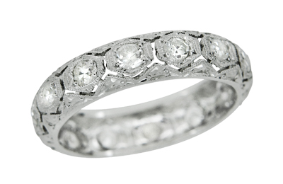 Occum Art Deco Antique Diamond Wedding Band in Platinum - Size 6.25
