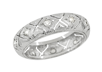 Art Deco Preston Antique Diamond Wedding Band in Platinum - Size 6