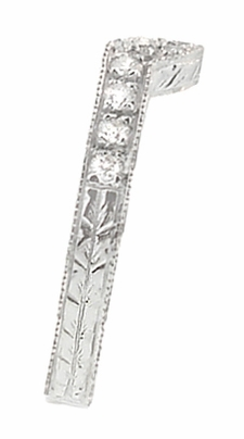Art Deco Diamond Curved Engraved Wheat Wedding Ring in 18 Karat White Gold - Item WR306WD - Image 1
