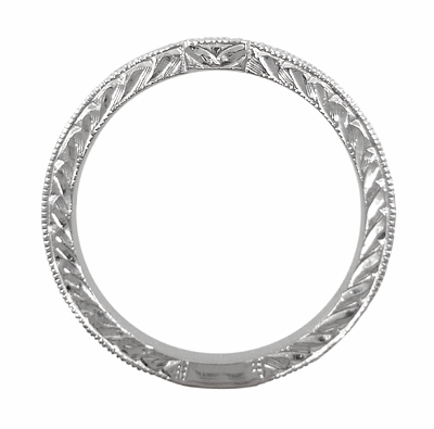 Art Deco Diamond Engraved Companion Wedding Ring in 18 Karat White Gold - Item WR283W1 - Image 2