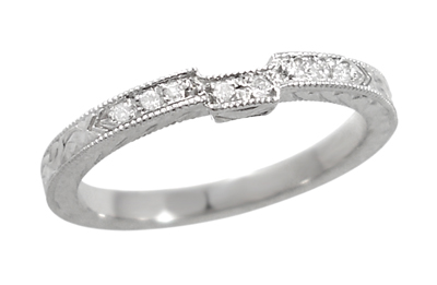 Art Deco Diamond Engraved Wedding Ring in 18 Karat White Gold