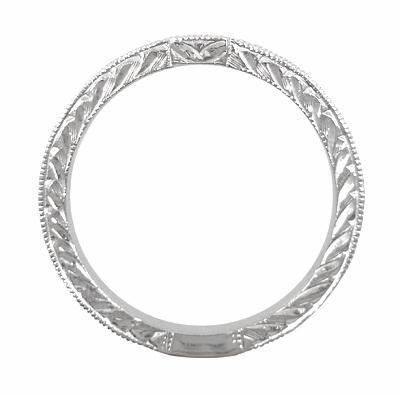 Art Deco Diamond Engraved Wedding Ring in 18 Karat White Gold - Item WR283W50 - Image 1