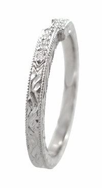 Art Deco Diamond Engraved Wedding Ring in 18 Karat White Gold - Item WR283W50 - Image 2