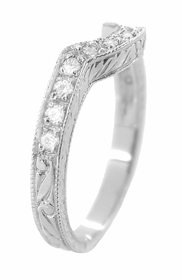 Art Deco Diamond Engraved Wheat Curved Wedding Band in 18 Karat White Gold - Item WR178D - Image 2