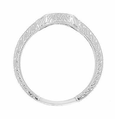 Art Deco Diamond Engraved Wheat Curved Wedding Band in 18 Karat White Gold - Item WR178D - Image 4