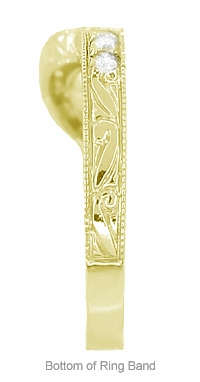 Art Deco Diamond Engraved Wheat Curved Wedding Band in 18 Karat Yellow Gold - Item WR178YD - Image 5