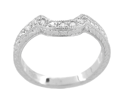 Art Deco Diamond Engraved Wheat Wedding Band in Platinum