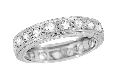 Art Deco Diamond Eternity Straightline Antique Heirloom Wedding Band in Platinum - Size 5 1/2