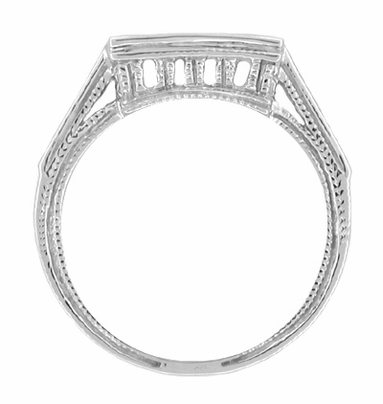 Art Deco Diamond Filigree Contoured 950 Palladium Wedding Ring - Item WR661PDM - Image 1