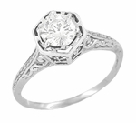 Art Deco Engraved Scroll Diamond Filigree Engagement Ring in 14 Karat White Gold