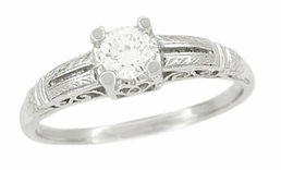 Art Deco Diamond Filigree Engraved Engagement Ring in Platinum