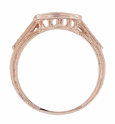 Art Deco Diamond Filigree Wedding Ring in 14 Karat Rose ( Pink ) Gold | Matching Engraved Pink Gold Curved Diamond Band - Item WR663R - Image 1