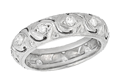 Art Deco Diamond Scroll Filigree Antique Wedding Band in Platinum - Size 5 1/4