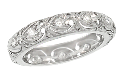 Art Deco Diamond Scrolls Antique Wedding Band in Platinum - Size 5 1/2
