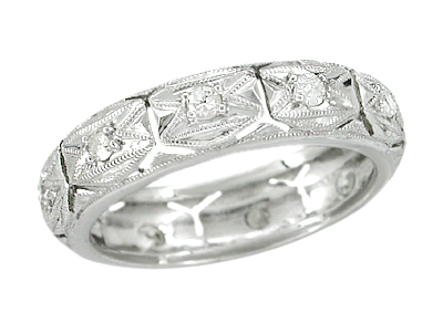 Art Deco Leesville Diamond Antique Geometric Wedding Band in Platinum - Size 5 3/4