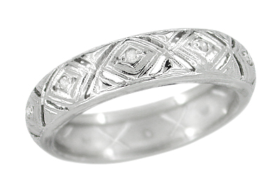 Art Deco Diamond Set Antique Wedding Band in 14 Karat White Gold - Size 6 1/2