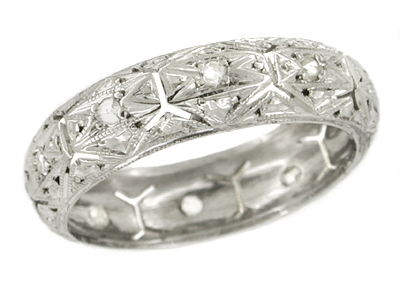 1920s Art Deco Fitchville Estate Diamond Wedding Ring - 18K White Gold