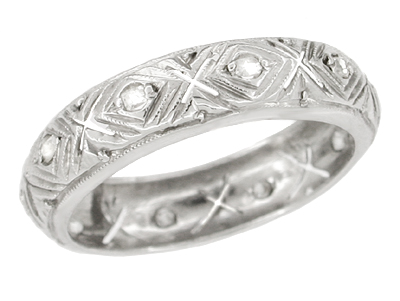 Art Deco Diamond Set Antique Wedding  Band in 18 Karat White Gold - Size 6