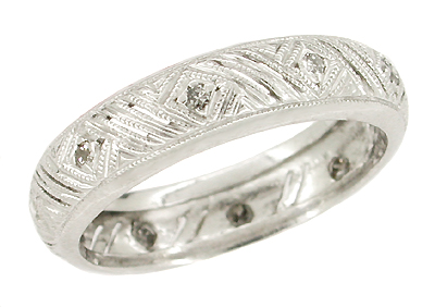 Montowese Art Deco Vintage Gray Diamonds Wedding Band - 18K White Gold - Size 6.5