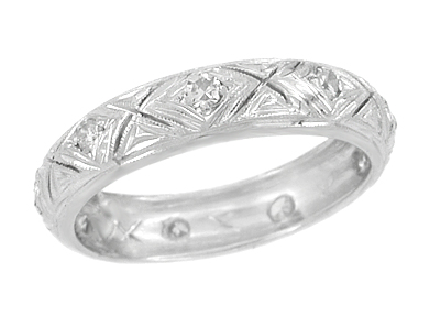 Art Deco Diamond Set Antique Wedding Band in 18 Karat White Gold - Size 7