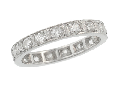 Art Deco Diamond Set Antique Straightline Wedding Band in Platinum - Size 4 3/4