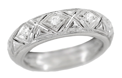 Art Deco Germanton Vintage Diamond Wedding Band in Platinum - Size 4 3/4