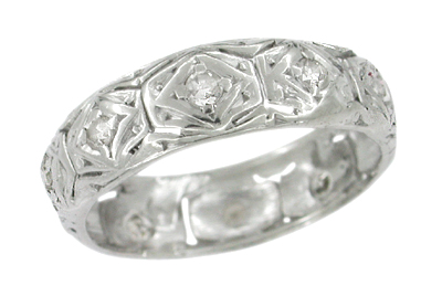 Vintage Art Deco Platinum Hillstown Diamond Wedding Band - Size 5 1/2