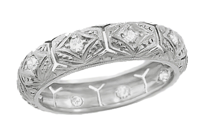 Warrenville Vintage Art Deco Platinum Diamond Wedding Ring - Size 5.5