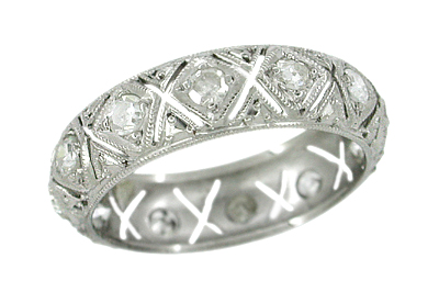 Winnipauk Platinum Vintage Art Deco Filigree Diamond Wedding Band